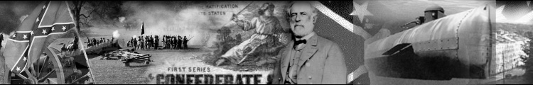 Collage of confederate images including re-enactment battlefield, condederate battle flag, General Robert E. Lee, CSS Hunley.